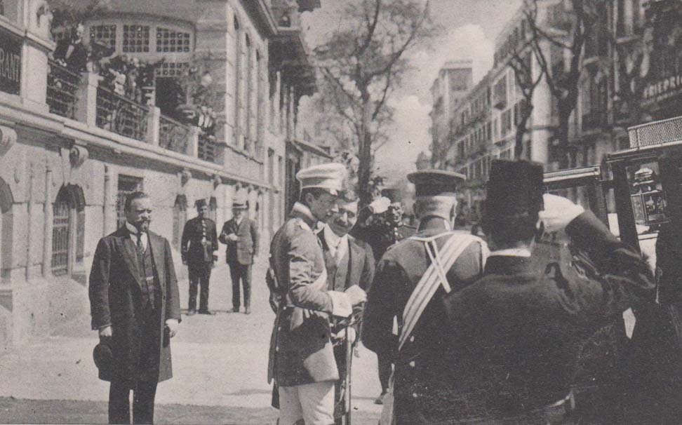 The Crown Prince of Germany being greeted by the manager of the Savoy, Auguste Wild