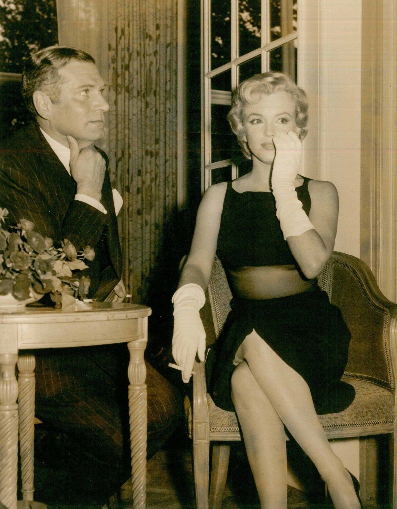 Marilyn Monroe with Laurence Olivier at the Savoy for a press conference in 1956 conference