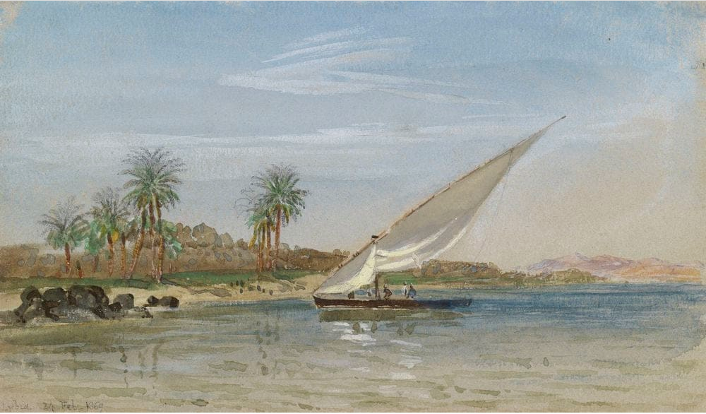 Egyptian boat above the First Cataract by Brierly, 24th February 1869